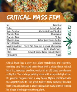 Back of Collector Seed Card by Native Seed - Critical Mass