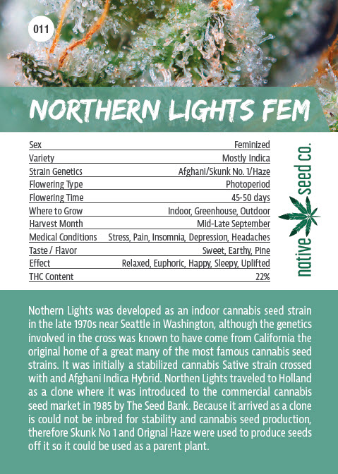 Back of Collector Seed Card by Native Seed - Northern Lights