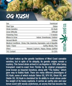 Native Seed Co. Collector Card - OG Kush - Back